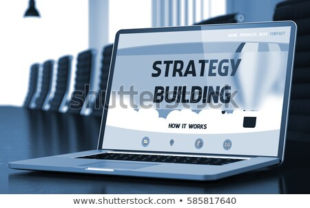 Merk gebouw laptop conferentiezaal 3D Stockfoto © tashatuvango