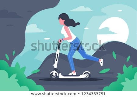 woman riding on scooter vehicle as recreation icon stock photo © robuart