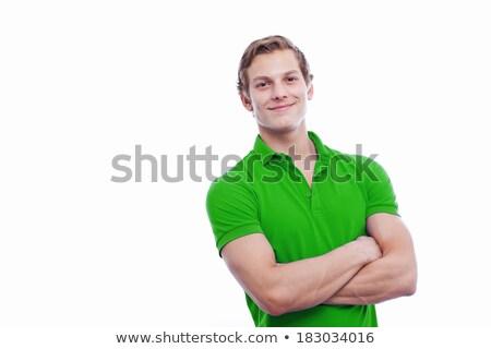 Elegáns férfi zöld öltöny áll fehér Stock fotó © feedough