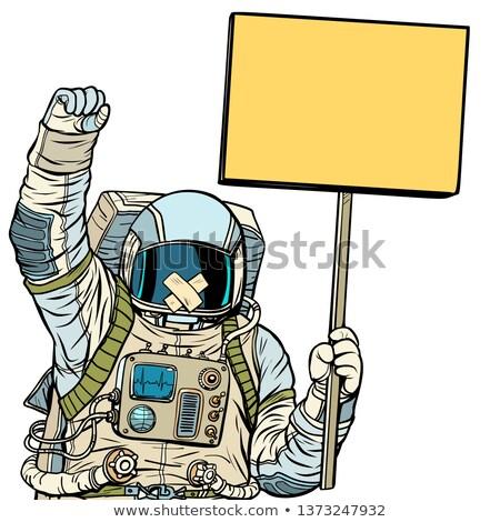 Astronaut with gag protesting. Isolate on white background Stock photo © studiostoks