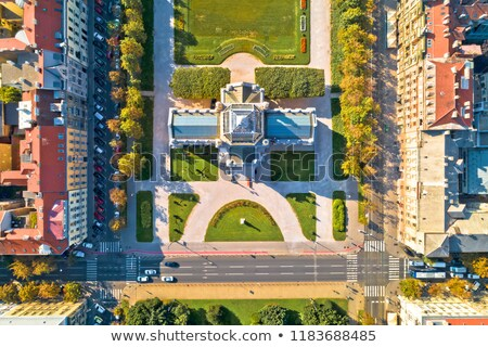 Zagreb King Tomislav square landmarks aerial view Stock photo © xbrchx