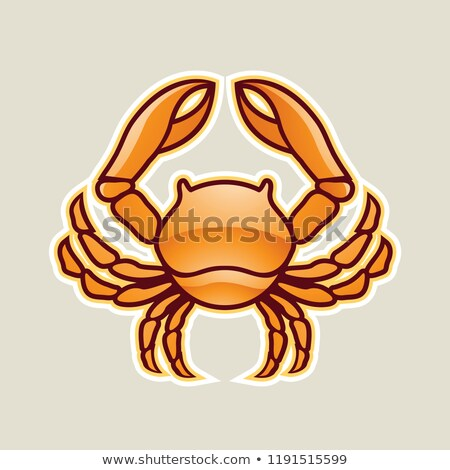 orange glossy crab or cancer icon vector illustration stock photo © cidepix