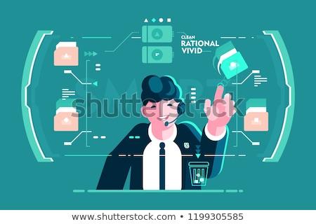 Headset Geschäftsmann um Bildschirm Schnittstelle Mann Stock foto © jossdiim