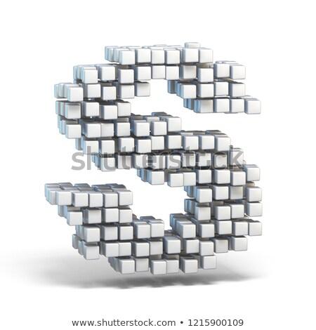 white voxel cubes font letter a 3d stock photo © djmilic