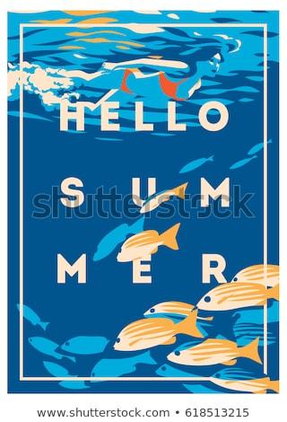 Frame ontwerp meisje duiken water illustratie Stockfoto © colematt