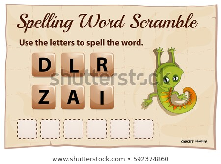 Spelling word scramble game with word lizard Stock photo © colematt