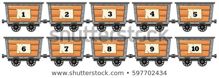 Counting numbers on wooden wagons Stock photo © colematt