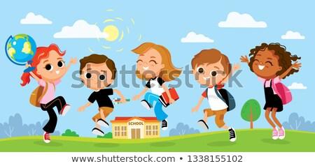 gyerekek · idő · tanul · vektor · poszter · illusztráció - stock fotó © robuart