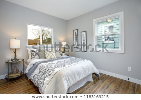 Beautiful gray and white bedroom with embroidery pattern bedding set Stock photo © iriana88w