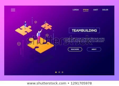 üzlet · együttműködés · izometrikus · vektor · kettő · vállalkozók - stock fotó © decorwithme