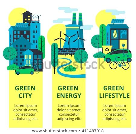 Vertical green city concept vector illustration. Stock photo © RAStudio