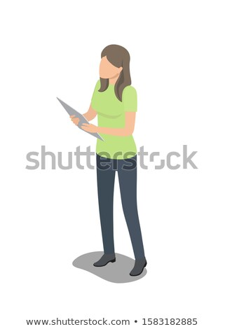 Faceless Female Character Stands with Big Tablet Stock photo © robuart