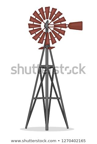 Holz Wind Mühle alten Überlieferung Wolken Stock foto © fanfo