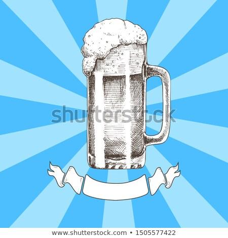 Foto stock: Grande · cerveza · taza · boceto · oktoberfest · cinta