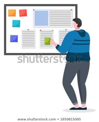 Masculino sério leitura documento isolado vetor Foto stock © robuart
