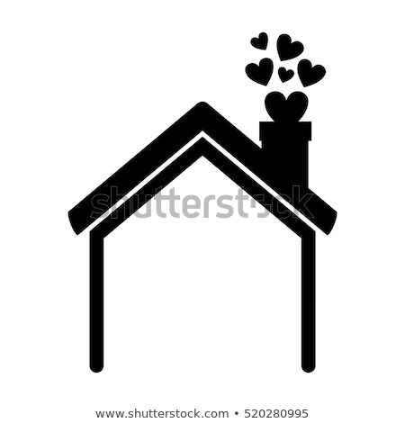 Schoorsteen rook huis dak icon vector Stockfoto © blaskorizov