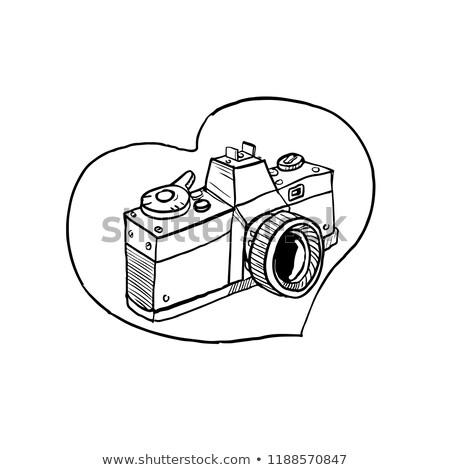 vintage 35mm slr camera heart drawing stock photo © patrimonio