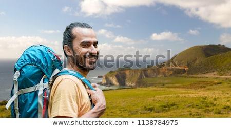 улыбаясь · человека · борода · рюкзак · походов · Adventure - Сток-фото © dolgachov