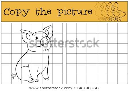 jigsaw puzzles with cartoon farm animals Stock photo © izakowski