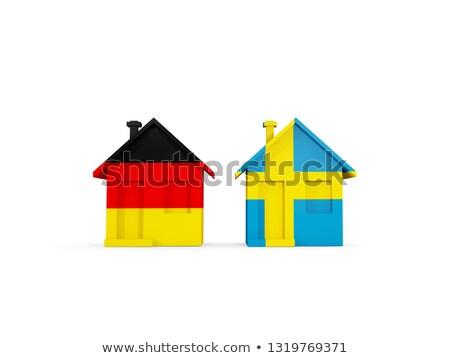 Kettő házak zászlók Németország Svédország izolált Stock fotó © MikhailMishchenko