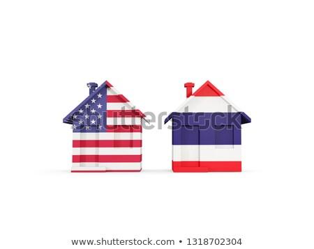 Dois casas bandeiras Estados Unidos Tailândia isolado Foto stock © MikhailMishchenko