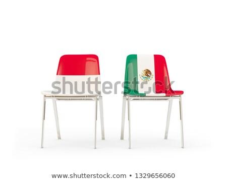 Deux chaises drapeaux Indonésie Mexique isolé Photo stock © MikhailMishchenko