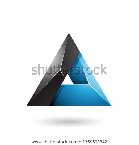 Negro azul 3D triángulo agujero Foto stock © cidepix