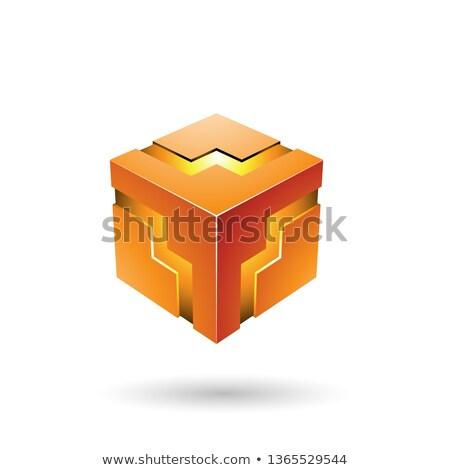 Oranje zigzag kubus vector illustratie geïsoleerd Stockfoto © cidepix