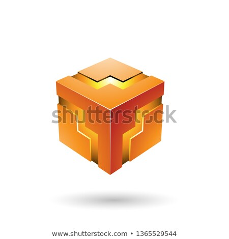 Laranja ziguezague cubo vetor ilustração isolado Foto stock © cidepix