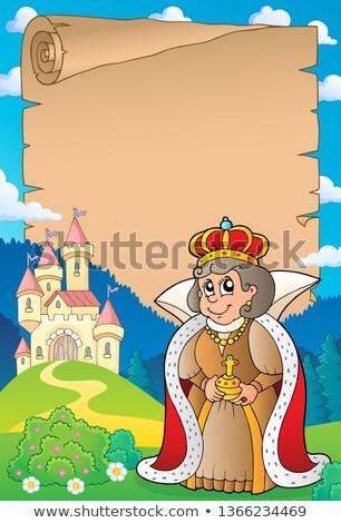 пергаменте королева замок бумаги весны искусства Сток-фото © clairev