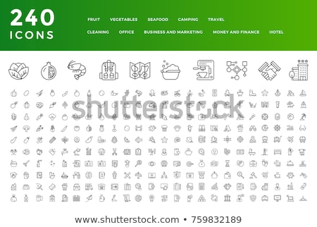 Set of Fruits and Berries icons set Stock photo © nosik