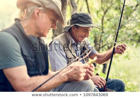 человека рыбалки пруд иллюстрация природы лист Сток-фото © colematt