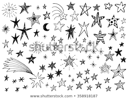 Christmas hand drawn cute doodles, stickers, illustrations. Penguin, bear, cat and Santa Stock photo © marish
