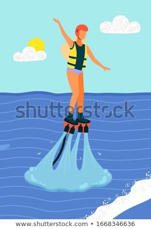 Vrouw zwemvest helm jonge vrouw lang Stockfoto © robuart