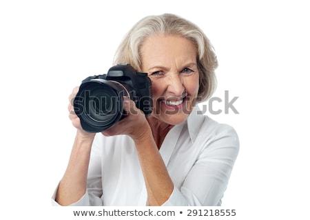 Senior vrouw digitale camera ouderdom fotografie Stockfoto © dolgachov