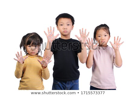 sad face kid and hand raise to stop or protect Stock photo © Lopolo