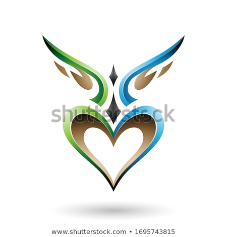 Green and Blue Bird Like Winged Heart with a Shadow Vector Illus Stock photo © cidepix