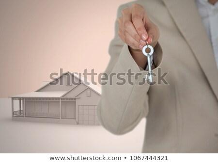 Nő tart kulcs 3D ház modell Stock fotó © wavebreak_media