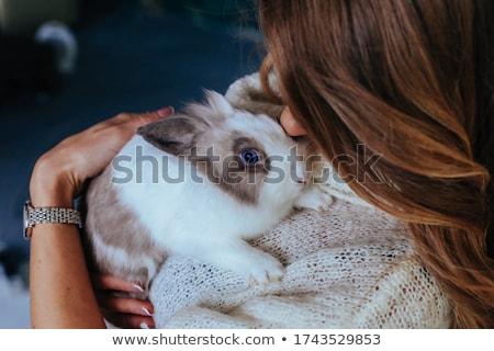 девочку · играет · мех · кролик · белый · Пасху - Сток-фото © ilona75