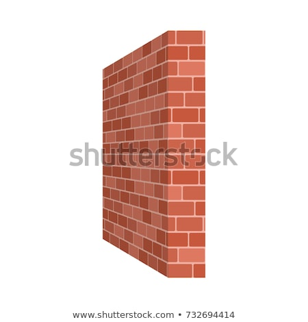 Vector isometric bricklayer building brick wall Stock photo © tele52