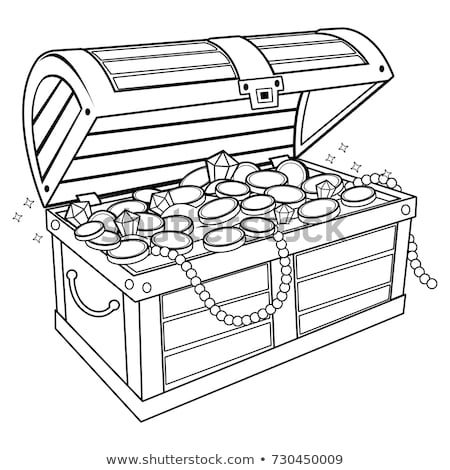 Treasure Chest Filled Golden Coins Color Vector Stock photo © pikepicture