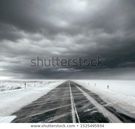 嵐の 空 雪 道路 美しい 雲 ストックフォト © leedsn
