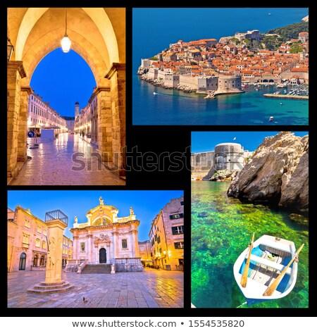 Dubrovnik pocztówkę kolaż widoku słynny turystycznych Zdjęcia stock © xbrchx