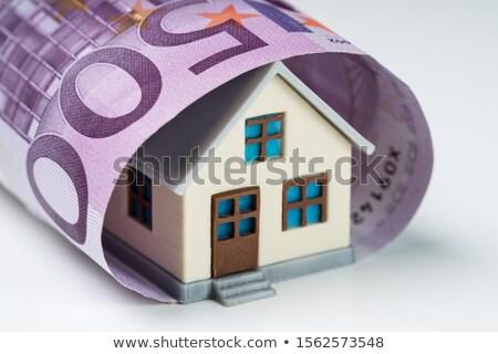 500 евро сведению покрытый миниатюрный дома Сток-фото © AndreyPopov