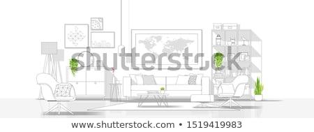 гостиной интерьер стиль линия иллюстрация комнату Сток-фото © shai_halud