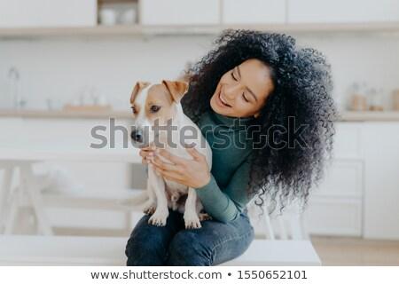 Gelukkig vrouwelijke eigenaar jack russell terrier hond verantwoordelijkheid Stockfoto © vkstudio