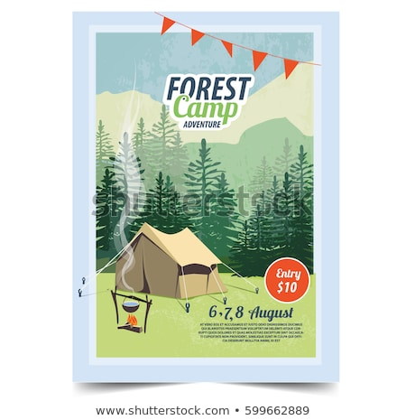 Summer Camp poster. Tent, Campfire, Pine forest and rocky mountains background, vector illustration. Stock photo © ikopylov