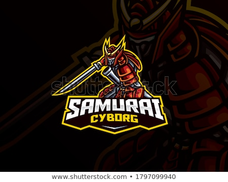 Foto stock: Cyborg · ninja · samurai · espada · mascote · ícone