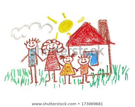 brother and sister drawing with crayons at home Stock photo © dolgachov