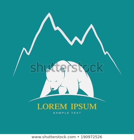 Mountain in Standing Wild Bear Silhouette Cartoon Stock photo © barsrsind